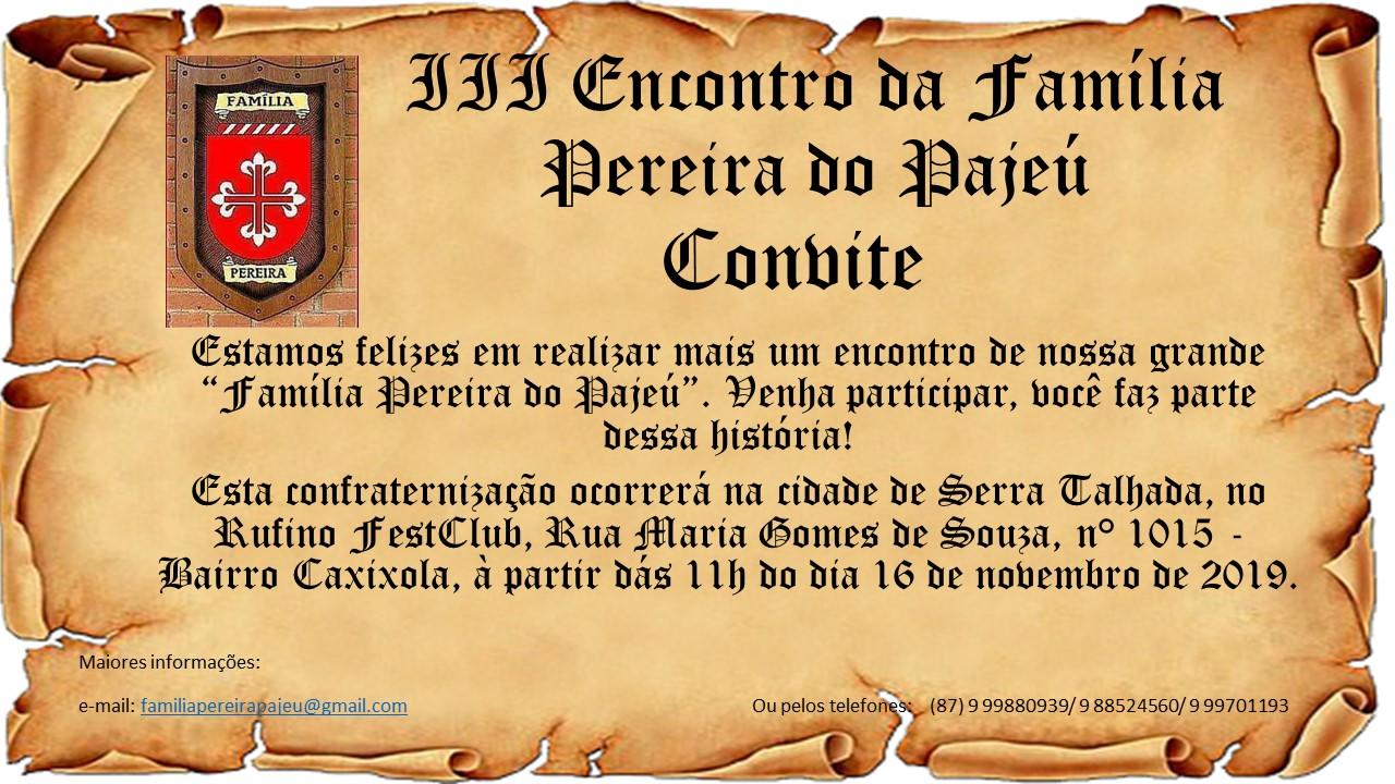 Convite para o III Encontro da Família Pereira do Pajeú